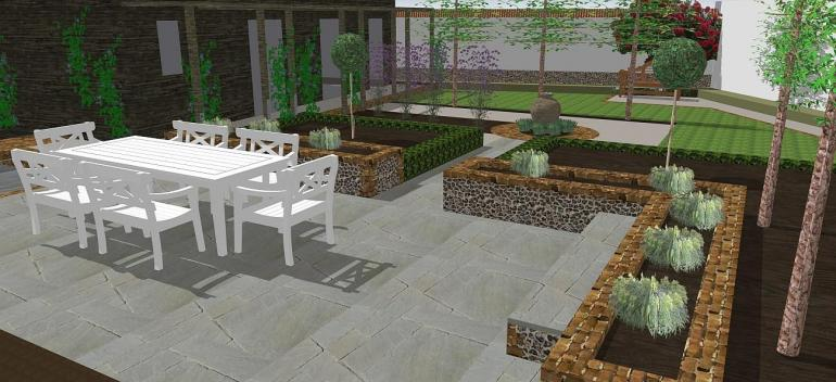 Victorian cottage back garden 3D model
