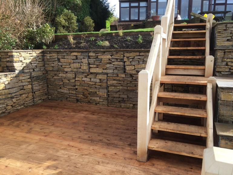 oak handrails and gabion dry stone wall